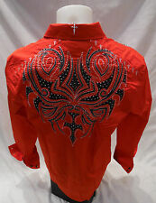 House of Lords Tribal Cross Stones Button Down Dress Shirt Red Roar With Class