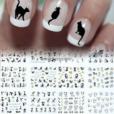 6Pcs Large 3D Nail Art Tips Stickers Decal Manicure Decorations Black Cat Kitten