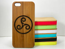 Triskele for iPhone 5C Case Bamboo Wood Cover Triskelion Celtic Knot Teen Wolf