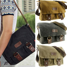Men's Vintage Canvas Shoulder Messenger Bag School Military Travel Satchel Bag