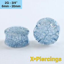 Shattered Cracked Glass Look Acrylic Plug Tunnel Blue 1pc 6mm - 20mm 2g - 3/4