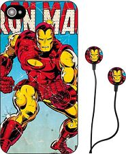 MARVEL COMICS IRON MAN - HULK HEADPHONES & IPHONE 5 CASE COVER IPAD IPOD RETRO