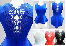 NEW Cute Butterfly Lace Applique Cutout Back High-Lo Hem Dressy Peplum Top S M L