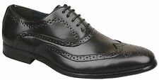 Mens New Black Lace Up Leather Lined Formal Brogues Shoes Size 6 7 8 9 10 11 12