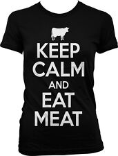 Keep Calm and Eat Meat Cow Paleo Primal Beef Chicken Protein Juniors T-shirt