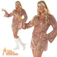 Adult Plus Size Disco Dolly Costume Ladies 70s Fancy Dress Outfit New 16-22