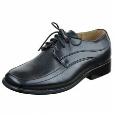 Boy's Tonal Stitching Lace Up Oxford Dress Shoes w/ Block Heel Black