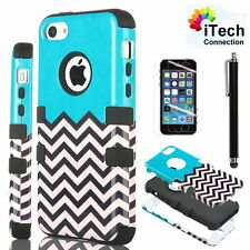 For iPhone 5C Black Rugged Rubber Matte Hard Case Cover w/ Screen Protector +Pen