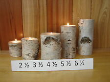 ~Set of 5 ~ BIRCH BARK LOG TEA LIGHT CANDLE HOLDERS ~