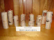 ~Set of 8 to 10 Birch Bark Log Tea Light Candle Holders~2 to 2 1/2 in. diameter~