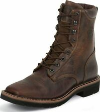 """Men's Justin Stampede Steel Toe Lace-Up Work Boots 8"""" Rugged Tan Wide WK682"""