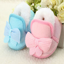 Baby Bowknot Soft Sole Fur Lined Boot Crib Toddler Girl Winter Warm Infant Shoes