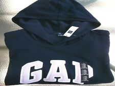 NWT GAP  Pullover Hoodie  Navy with Pink/White L/S Logo  Cotton Blend  XL