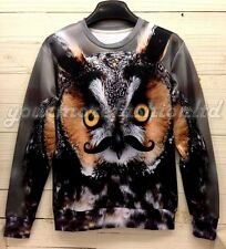 2014 New fashion for Women/Men 3D Printed Pullovers Sweater  Owl style