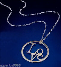 AVON Sterling Silver Pendant Necklace LOVE or AMOUR