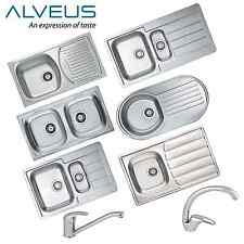 ALVEUS STAINLESS STEEL KITCHEN SINK WITH TAP&WASTE 1.0, 1.5, 2.0 BOWL REVERSIBLE