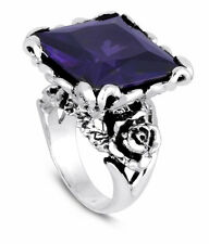Ed Hardy Authentic Royal Collection with Rose Design Purple Cubic Zirconia Ring