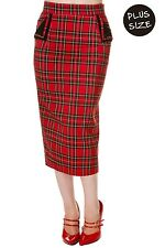 Banned Red Tartan Pencil Wiggle Fitted Skirt 50s Rockabilly PLUS SIZE 18 20 22