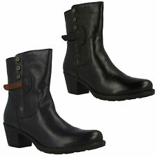 MAYMIE SKYE LADIES CLARKS BLACK NAVY LEATHER ZIP UP MID CHUNKY HEEL ANKLE BOOTS
