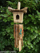 COLOURFUL GECKO PAINTED BIRD HOUSE WINDCHIME -Fairtrade & Handmade in Bali -45cm