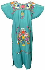 TEAL Embroidered Mexican Dress Vintage Tunic Peasant S M L XL XXL PLUS SIZE