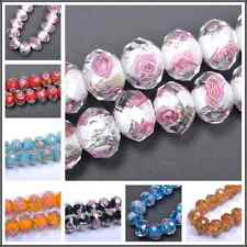 10/20Pcs Faceted Lampwork Glass Charms Rose Flower Finding Loose Beads 12X8MM