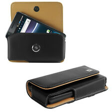Leather Horizontal Case Pouch Holder for Sony Phones, + Holster Belt Clip, Black