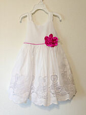NWT  Elie Tahari Baby Girl Kids White Embroidered Tulle Dress Pink Flower New