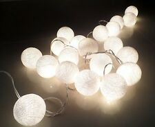 20 COTTON BALL/GLOBE STRING LIGHT: PARTY,PATIO,FAIRY,DECOR,CHRISTMAS,WEDDING B:4