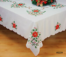 "Holiday Christmas Poinsettia Tablecloth 68x84"", 68x104"", 68x120"", 68"" Round 3229"