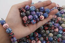 30pc Assorted Polymer Clay Fimo Crystal Flower Round Loose Charm Beads 12mm