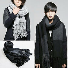 Promotion New Men's Unique Patchwork Fashion Tassels Long Thick Warm Scarf Wraps