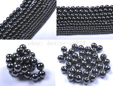 Wholesale 4MM 6MM 8MM 10MM 12MM Ball Black Magnetic Hematite Loose Spacer Beads