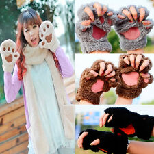 Womens Cute Cat Claw Paw Mitten Plush Glove Costume Gift Winter Half Finger