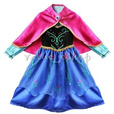 Kids Girls Frozen Princess Anna Dress Up Gown Costume Cape Fancy Party Cosplay