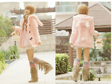 Super Cute Womens Lolita Rabbit Ears&Tail Coat Winter Jacket Outwear Pink&White