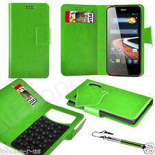 Green Leather Suction Wallet Flip Mobile Phone Case For Various Acer Models
