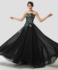 100% REAL IMAGE~Retro Peacock Long Evening Prom Party Cocktail Masquerade Dress