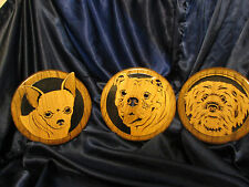 Oak Crafts By Marvin Wall Plaques: Chichuahua, Bulldog / Pit Bull, Sheepdog