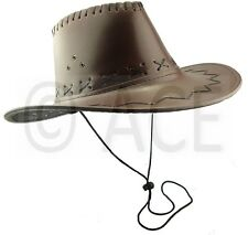 Mens Womens Faux Leather Stetson Hats Wide Brim Rodeo Western Cowboy Hat