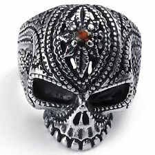 Vintage Stainless Steel CZ Gothic Skull Biker Mens Ring , Red Silver Black R643
