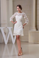 White/Ivory Lace wedding Dresses Short Bridal Gown stock size 6-8-10-12-14-16