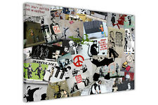 CREAM COLLAGE BANKSY CANVAS PRINT WALL ART PICTURES GRAFFITI PHOTOS MONTAGE