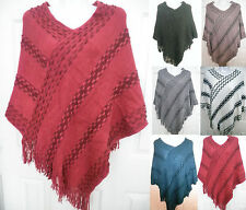 Women SOFT knitted Poncho Cape Pull Over Sweater Top Shawl Wrap Winter Outwear