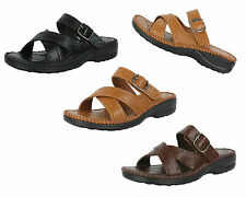 S314 - Ladies Slip On Mules Faux Leather Strappy Sandals Wedge Shoes - UK 3 - 8