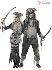 Ladies + Mens Ghost Ship Zombie Pirate Costumes Couples Halloween Fancy Dress