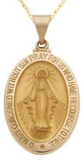 New 14k Yellow Gold Miraculous Virgin Mary Medal Religious Pendant Necklace