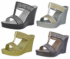 S320 - Ladies T-Bar High Heeled Diamante Evening Wedge Sandals Shoes - UK 3 - 8