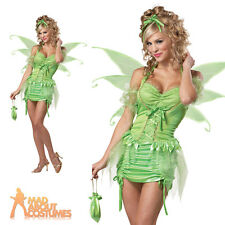 Adult Tinkerbell Costume Sexy Woodland Pixie Fairy Nymph Fancy Dress Outfit New