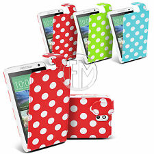 POLKA DOT LEATHER CASE FLIP CASE COVER POUCH FOR HTC DESIRE 610